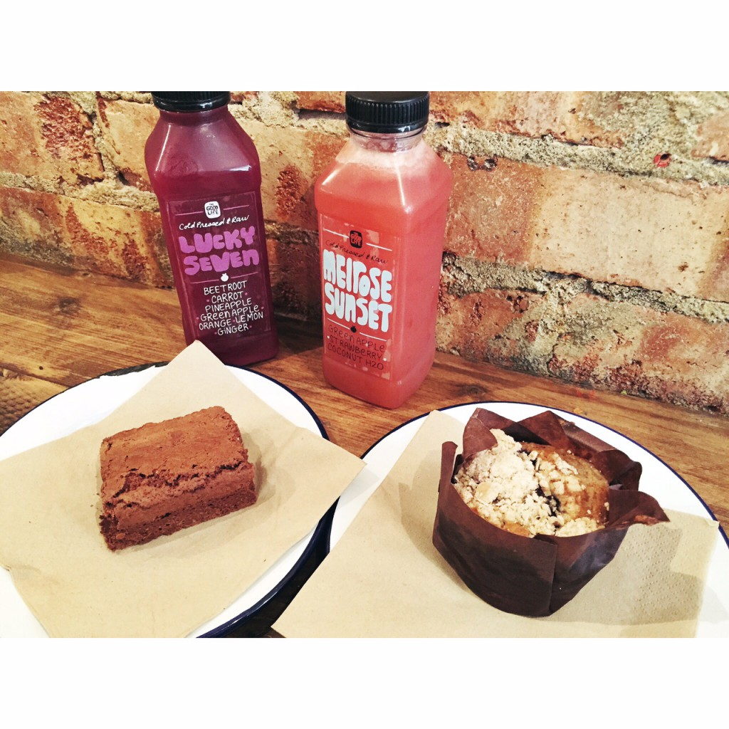 The Good Life Eatery Brownie, Muffin and Cold Pressed Juices